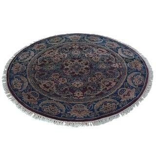 Round Burgundy Rajasthan Handmade 100 Percent Wool Rug (4'2 x 4'2)