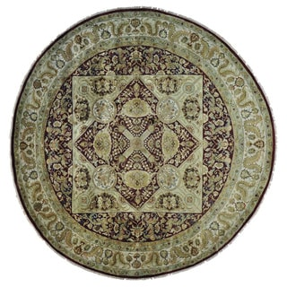 Round Handmade Burgundy Rajasthan Thick and Plush Rug (12'8 x 12'8)