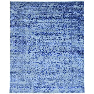 Hand-knotted Tone-on-tone Broken Design Rayon from Bamboo Silk Area Rug (8' x 10')