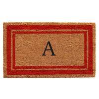 Red Border Monogram Doormat (1'6 x 2'6)