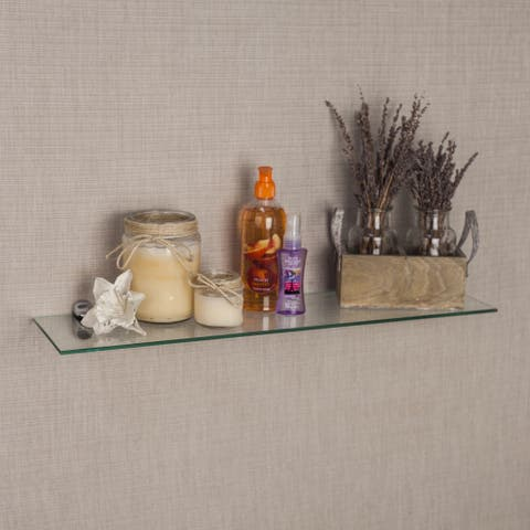 "Clear Glass Floating Shelf with Chrome Brackets - 24"""
