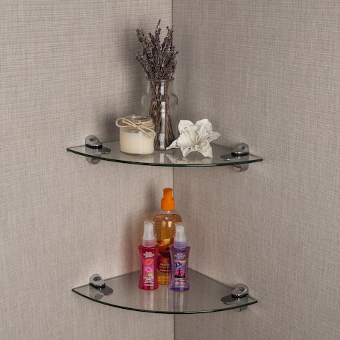 Clear Glass Radial Floating Shelves with Chrome Brackets (Set of 2)