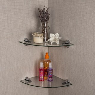 Clay Alder Home Lewisville Clear Glass Radial Floating Shelves with Chrome Brackets (Sef of 2)