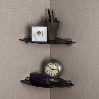 Black Smoke Glass Radial Floating Shelves with Chrome Brackets (Set of 2)