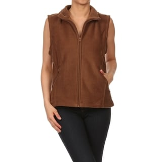 Women's Collared Brown Polar Fleece Vest