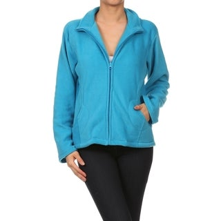 Blue Collared Polar Fleece Jacket with Pockets