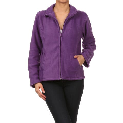Collared Polar Fleece Jacket with Pockets
