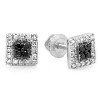 Elora 10k White Gold 1/4ct TDW Black and White Diamond Square Stud Earrings (I-J, I2-I3)