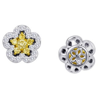18k White Gold 3/8ct TDW Fancy Natural Yellow Diamond Flower Stud Earrings By Life More Dazzling (G-H, SI1SI2)