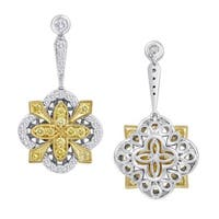 18k Two-tone 1ct TDW Fancy Yellow and White Diamond Dangle Sunburst Earrings by Life More Dazzling