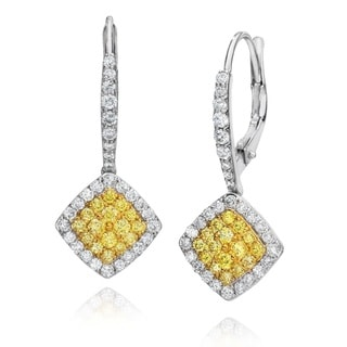 18k White Gold 1ct TDW Fancy Natural Yellow Diamond Earrings By Life More Dazzling (G-H, SI1-SI2)