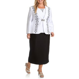 Ella Belle Women's Plus Size 3-piece Ribbon Thread Detail Skirt Suit