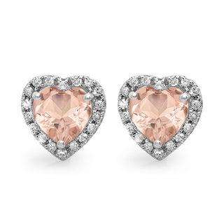 Elora 10k White Gold 2 1/4ct TDW Diamond and Heart Morganite Halo Stud Earrings (I-J, I2-I3)
