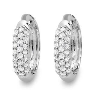18k White Gold 1/3ct TDW Round Diamond Pave Hoop Earrings (I-J, I2-I3)