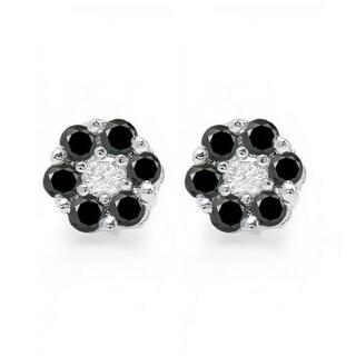 Elora 10k White Gold 2/5ct TDW White and Black Diamond Cluster Flower Stud Earrings (I-J, I2-I3)