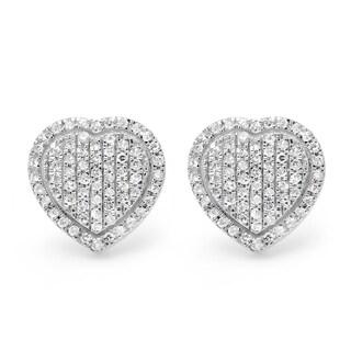 14k White Gold 1/6ct TDW Diamond Heart Stud Earrings (I-J, I2-I3)