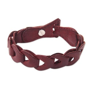 Handcrafted Leather 'Infinity in Red' Bracelet (Indonesia)