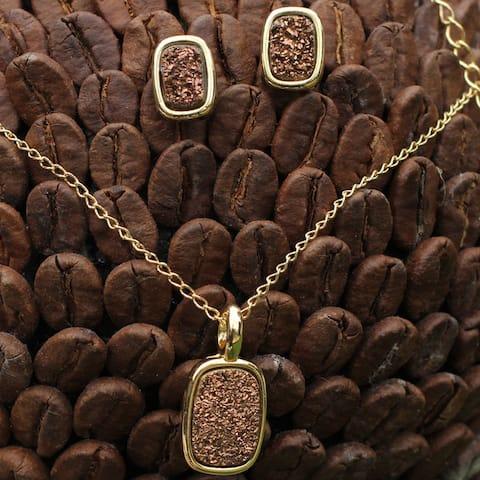 Handmade Gold Overlay 'Bronze Windows' Agate Jewelry Set (Brazil)