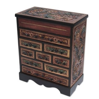 Natures Glory Tall Nine Drawer Chest Style with Mirrored Top Compartment Hand Tooled Leather and Cedar Wood Jewelry Box (Peru)