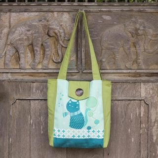Handcrafted Cotton 'Playful Kitty' Shoulder Bag (Thailand)