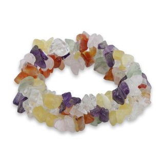 Handmade Set of 3 Multi-gemstone 'Rainbow Skies' Bracelets (Brazil)