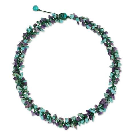 "Handmade Amethyst Calcite 'Thai Interlude' Necklace (Thailand) - 20.5"" min L - 21.75"" max L x 0.6"" W"