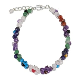 Handcrafted Multi-gemstone 'Rainbow Blooms' Bracelet (Thailand)