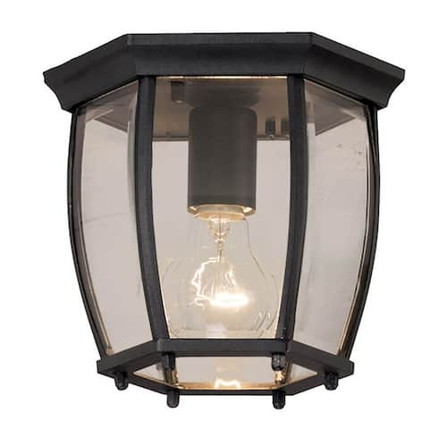 Traditional 1-light Black Outdoor Flush Mount Light