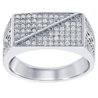 La Preciosa Sterling Silver Men's Micro Pave Cubic Zirconia Ring