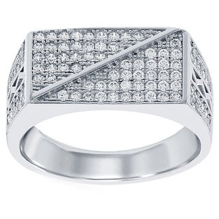 La Preciosa Sterling Silver Men's Micro Pave Cubic Zirconia Ring (2 options available)