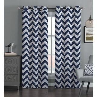 Avondale Manor Chevron Curtain Panel Pair (Option: Navy)