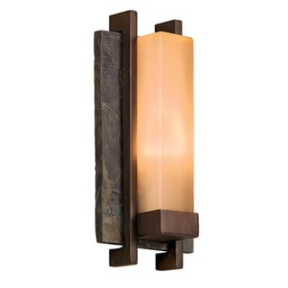 Contemporary 1-light Slate Stone/Bronze Metal Outdoor Wall Light