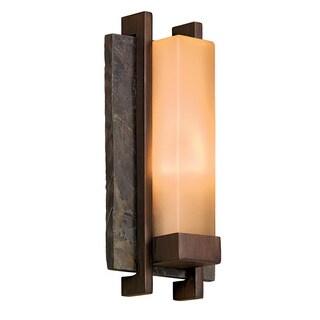Contemporary 1-light Slate Stone/Bronze Metal Outdoor Wall Light