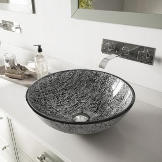 VIGO Titanium Glass Vessel Sink and Titus Wall Mount Faucet Set in Chrome