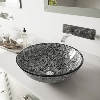 VIGO Titanium Glass Vessel Sink and Titus Wall Mount Faucet Set in Chrome