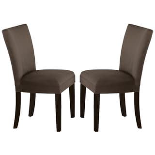 Sapphire Contemporary Microfiber Brown Parson Chairs (Set of 2)