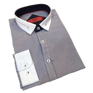 Elie Balleh Boy's 'Milano Italy' Black and White Graphic Slim Fit Shirt