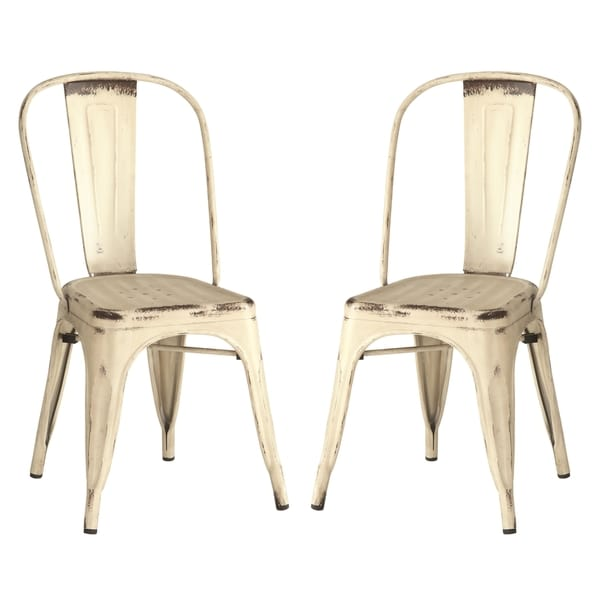Vintage Distressed Rustic Cream White Metal Dining Chairs Set Of