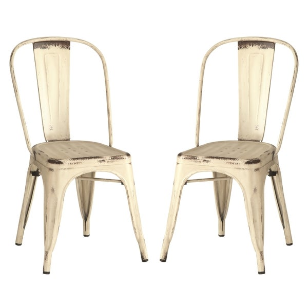 Vintage Metal Dining Chairs vintage distressed rustic cream/white metal dining chairs (set of