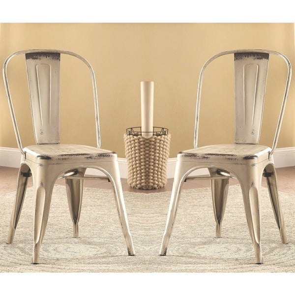 Set Of 4 Country Cream Dining Chairs: Vintage Distressed Rustic Cream/White Metal Dining Chairs