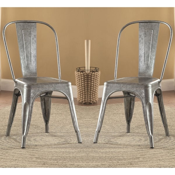 Merveilleux Vintage Distressed Rustic Galvanized Metal Dining Chairs (Set Of 4)