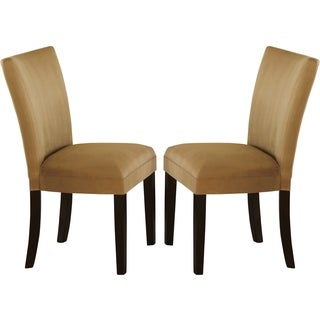 Sapphire Contemporary Microfiber Gold/ Brown Parson Chairs (Set of 2)