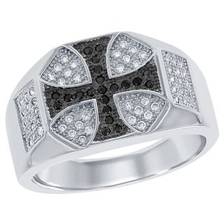 La Preciosa Sterling Silver Men's Black and White Micropave Cubic Zirconia Cross Ring