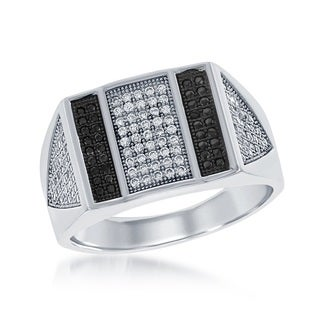 La Preciosa Sterling Silver Men's Black and White Micropave Cubic Zirconia Bar Ring