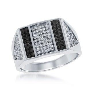 La Preciosa Sterling Silver Men's Black and White Micropave Cubic Zirconia Bar Ring