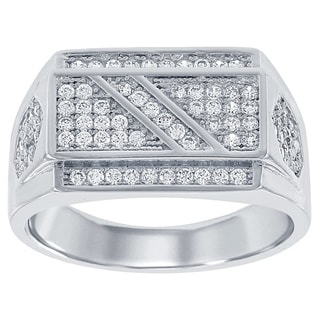 La Preciosa Sterling Silver Men's Cubic Zirconia Flat Top Ring