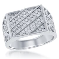 La Preciosa Sterling Silver Men's Micropave Cubic Zirconia Designed Ring