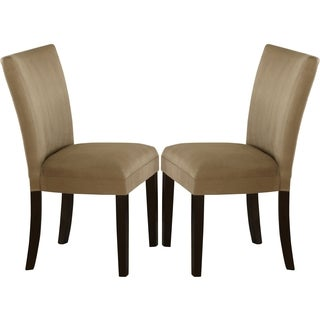 Sapphire Contemporary Microfiber Taupe Parson Chairs (Set of 2)