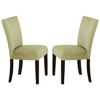 Sapphire Contemporary Microfiber Light Green Parson Chairs (Set of 2)