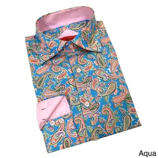 Elie Balleh Boys' 'Milano Italy' Paisley Cotton Slim Buttondown Shirt (Option: Aqua, 3)